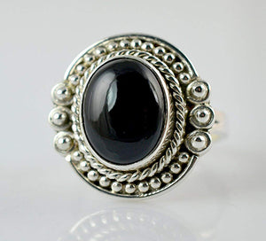 Black Onyx 925 Solid Sterling Silver Handmade Blessing Ring - NavyaCraft