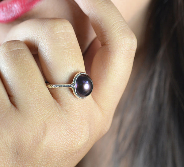 Freshwater Black Pearl 925 Solid Sterling Silver Handmade Ring - NavyaCraft