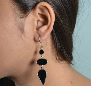 Black Onyx 925 Solid Sterling Silver Handmade Dangle Drop Earrings