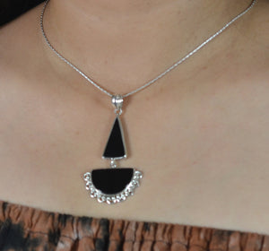 Black Onyx 925 Solid Sterling Silver Handmade Dual Stone Necklace