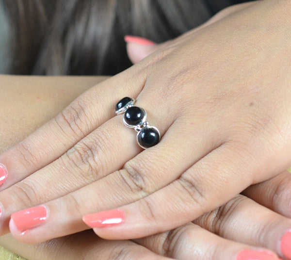 Black Onyx 925 Solid Sterling Silver Handmade Triple Stone Ring