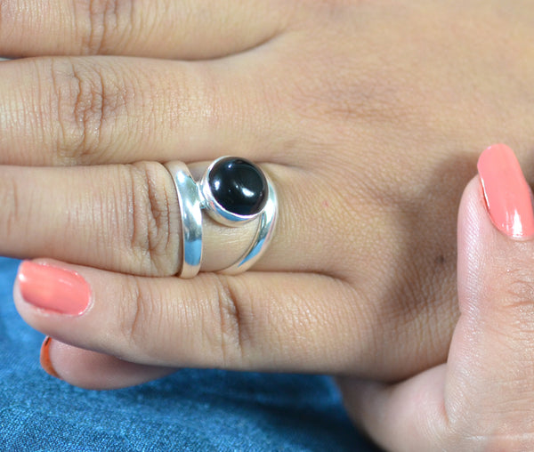 Black Onyx 925 Solid Sterling Silver Handmade Midi Curl Ring