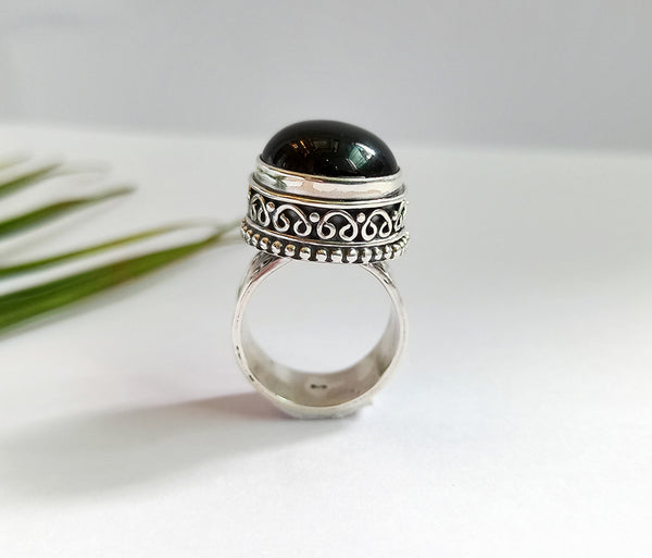 Black Onyx 925 Solid Sterling Silver Handmade Round Ring