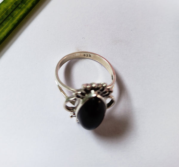 Black Onyx 925 Solid Sterling Silver Handmade Love Ring