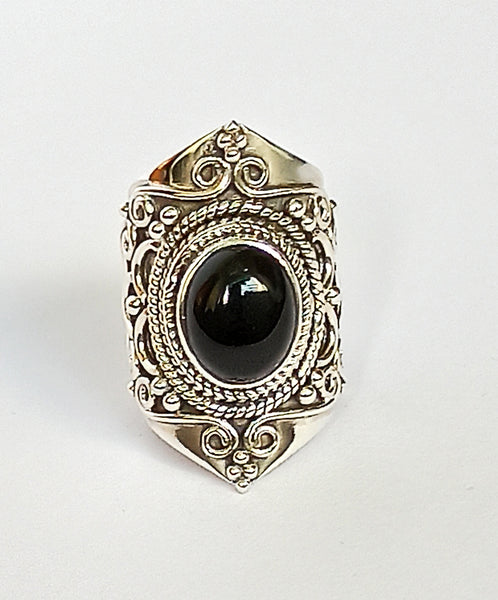 Black Onyx 925 Solid Sterling Silver Handmade Oval Ring