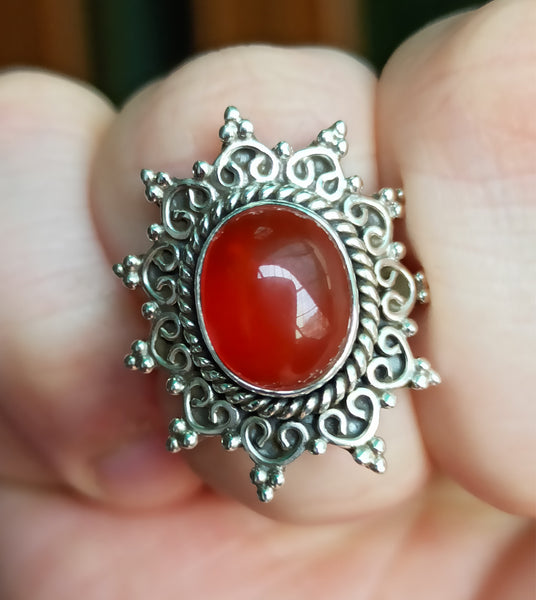 Carnelian 925 Solid Sterling Silver Star Ring