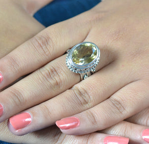 Citrine 925 Solid Sterling Silver Handmade Oval Ring