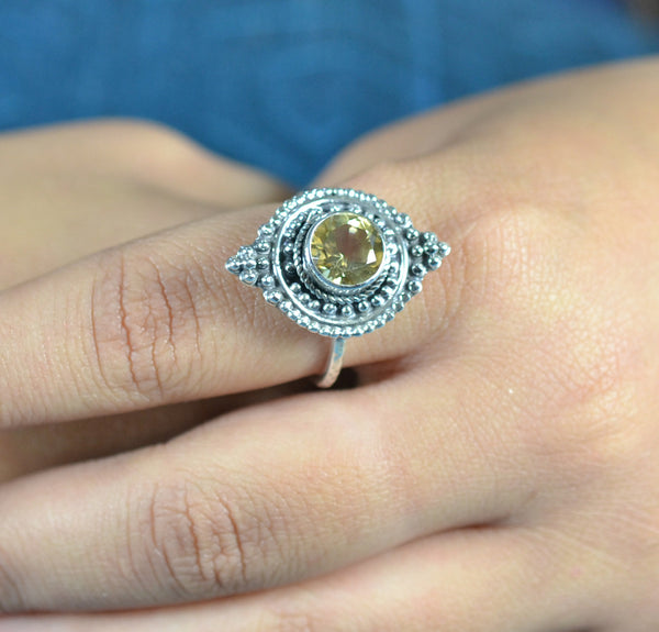 Citrine 925 Solid Sterling Silver Handmade Princess Ring