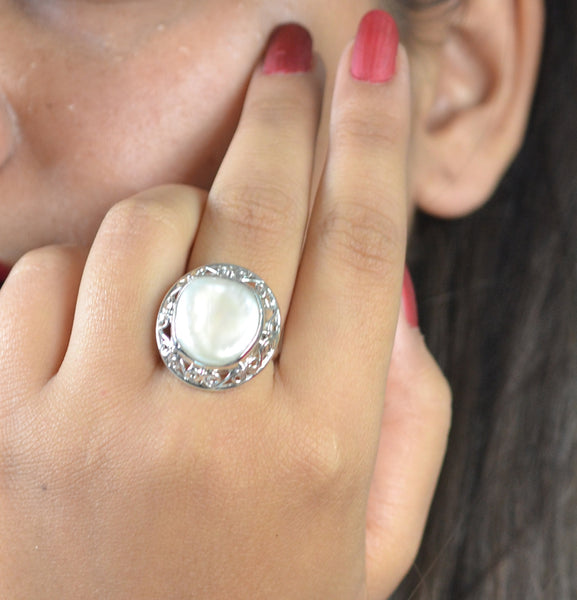 Freshwater Coin Pearl 925 Solid Sterling Silver Stylish Ring