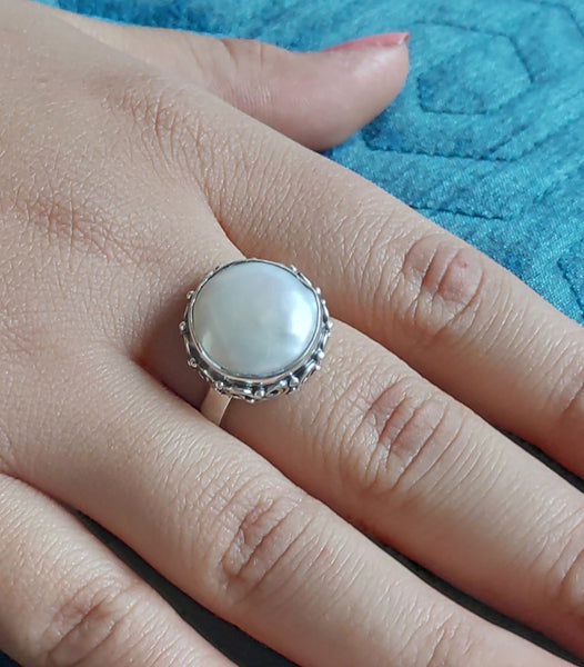 Freshwater Coin Pearl 925 Solid Sterling Silver Flat Ring