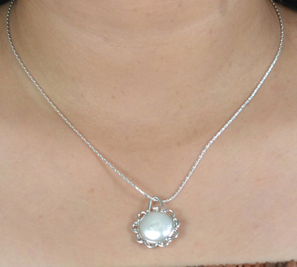 Freshwater Coin Pearl Handmade Necklace Chain Length 18""