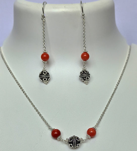 Coral 925 Solid Sterling Silver Handmade Necklace Chain
