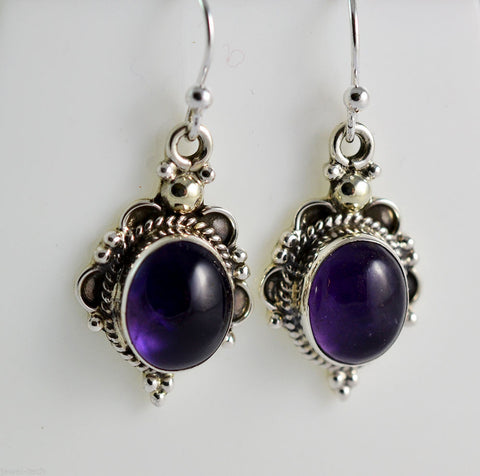 Amethyst 925 Solid Sterling Silver Handmade Antique Dangle Earrings - NavyaCraft