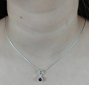 Garnet 925 Solid Sterling Silver Handmade Necklace Chain
