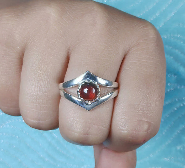 Garnet 925 Solid Sterling Silver Handmade Checker Crown Ring