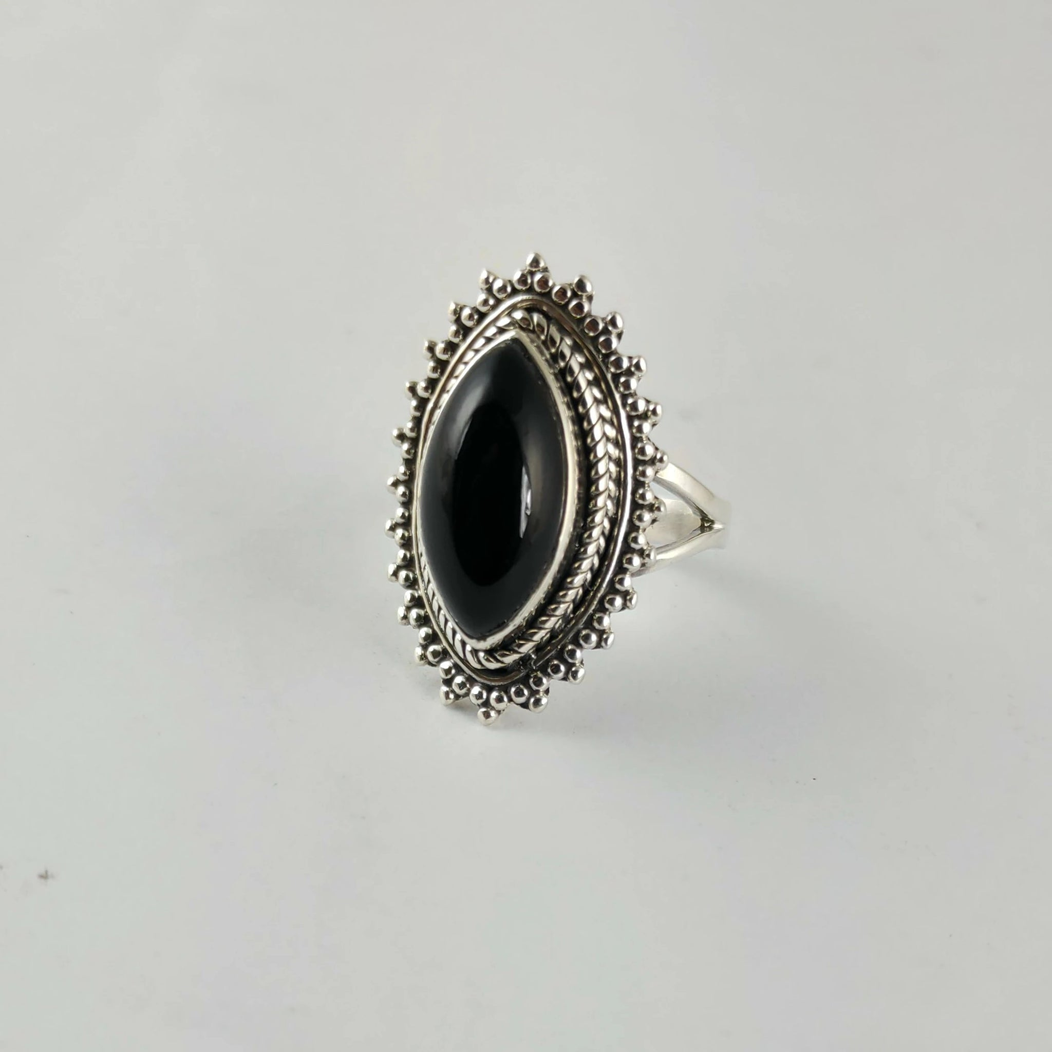 Black Onyx 925 Solid Sterling Silver Handmade Love Ring - NavyaCraft