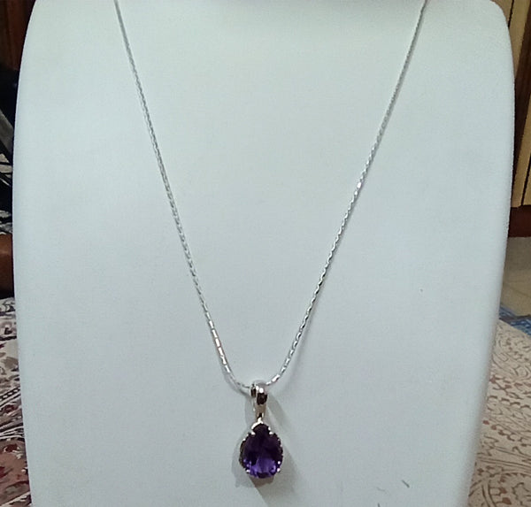 Amethyst 925 Solid Sterling Silver Handmade Pendant with Chain