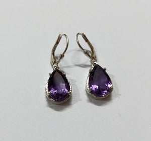 Amethyst 925 Solid Sterling Silver Handmade Drop Earrings