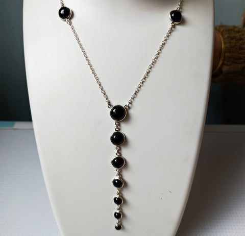 Black Onyx 925 Solid Sterling Silver Handmade Myriad Necklace