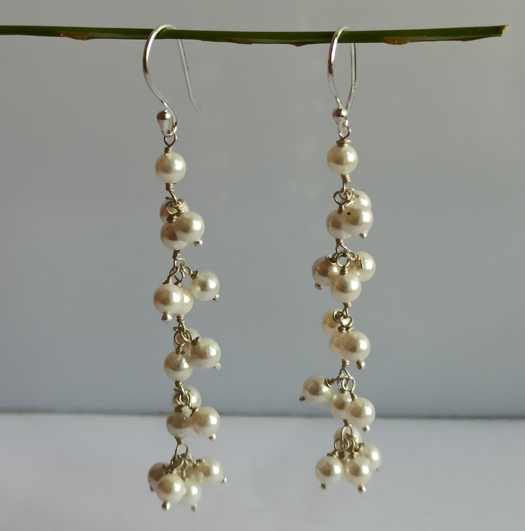 Freshwater White Pearl 925 Solid Sterling Silver Handmade Dangle Earrings