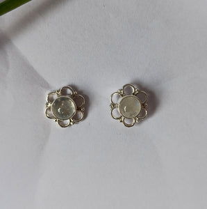 Rainbow Moonstone 925 Solid Sterling Silver Handmade Round Earrings