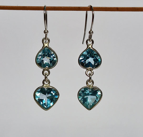 Blue Topaz 925 Solid Sterling Silver Handmade Antique Dangle Earrings