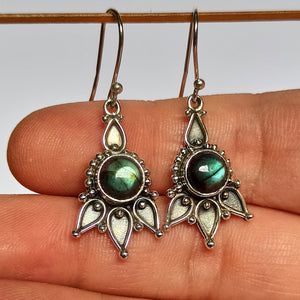 Labradorite 925 Solid Sterling Silver Handmade Antique Dangle Earrings