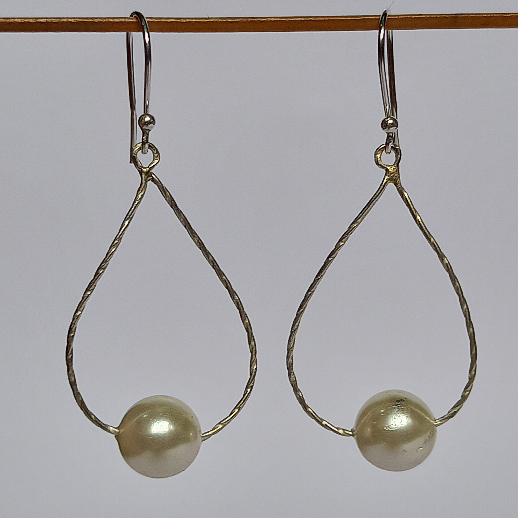 Freshwater White Pearl 925 Solid Sterling Silver Handmade Dangle Drop Earrings