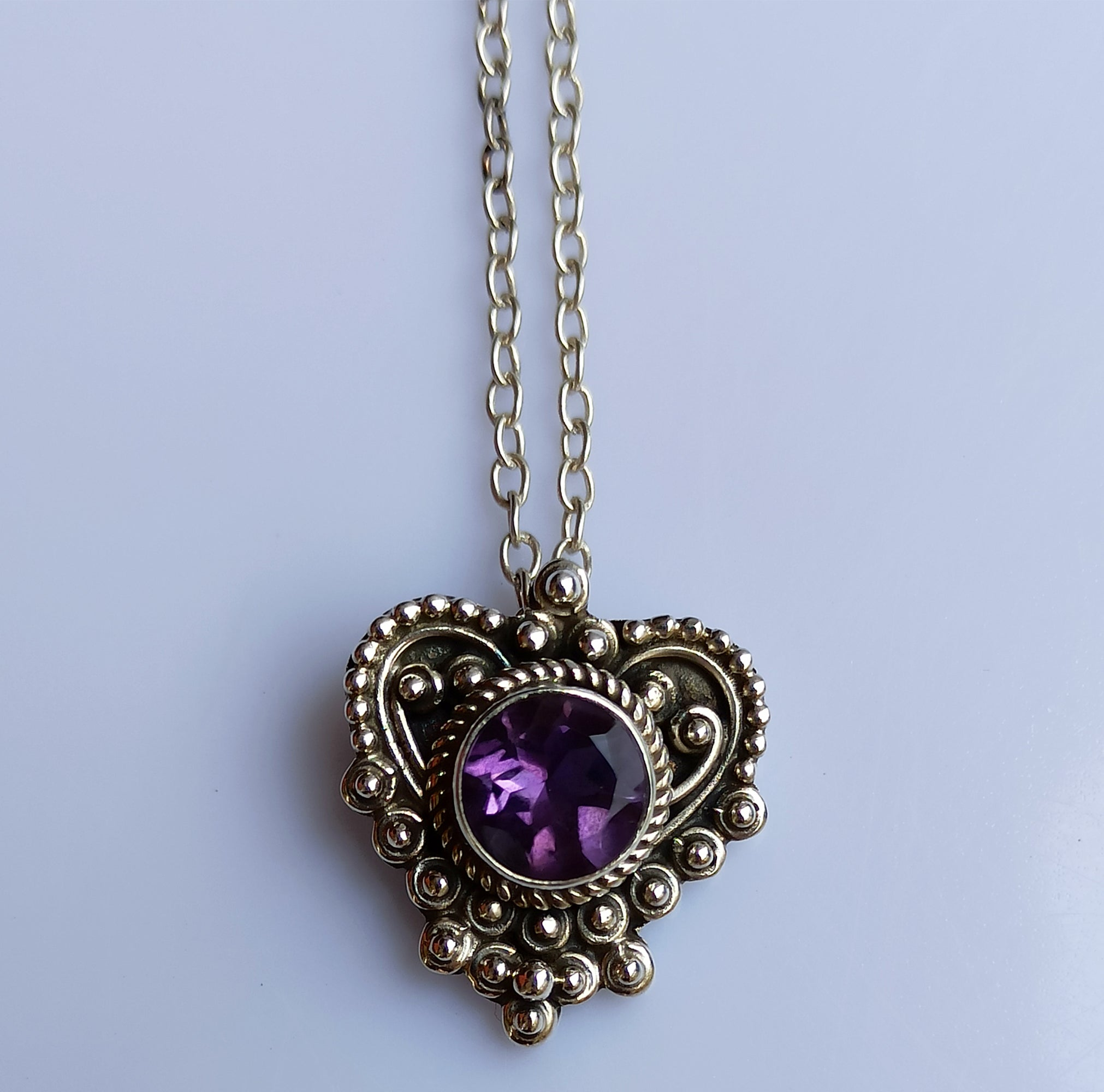 Amethyst 925 Solid Sterling Silver Handmade Heart Pendant with Chain