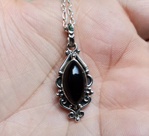 Black Onyx 925 Solid Sterling Silver Handmade Marquise Necklace