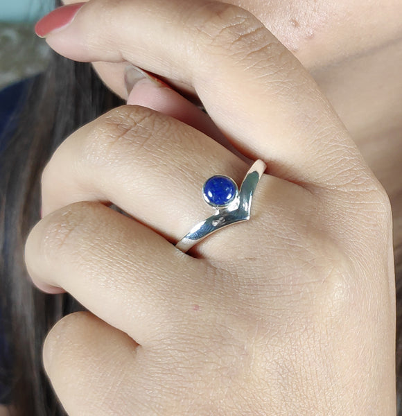 Lapis Lazuli 925 Solid Sterling Silver Handmade Fountain Ring