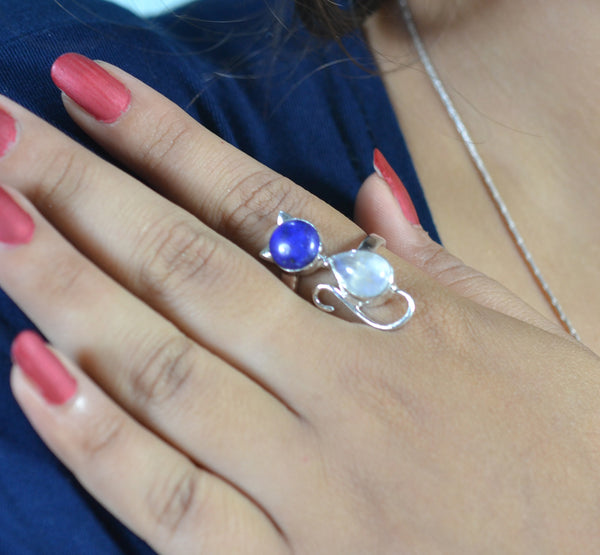 Lapis Lazuli 925 Solid Sterling Silver Handmade Dual Stone Ring