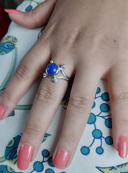 Lapis Lazuli 925 Solid Sterling Silver Handmade Round Ring