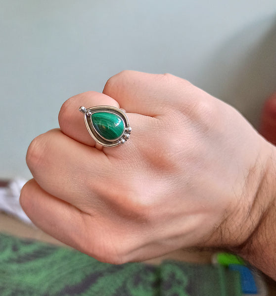 Malachite 925 Solid Sterling Silver Handmade Pear Ring