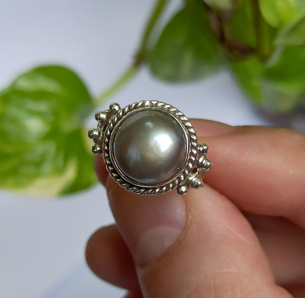 Freshwater Gray Pearl 925 Solid Sterling Silver Handmade Greek Ring
