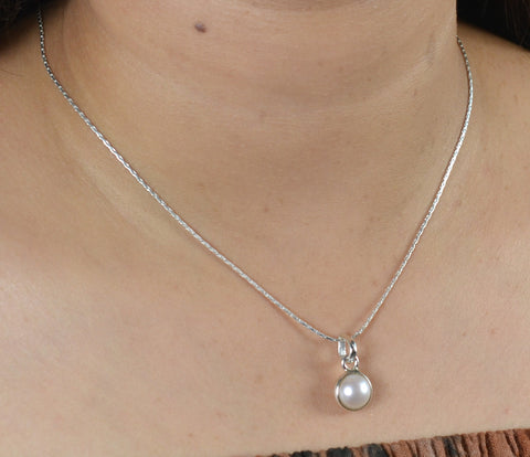 Freshwater White Pearl Handmade Necklace Chain Length 18""