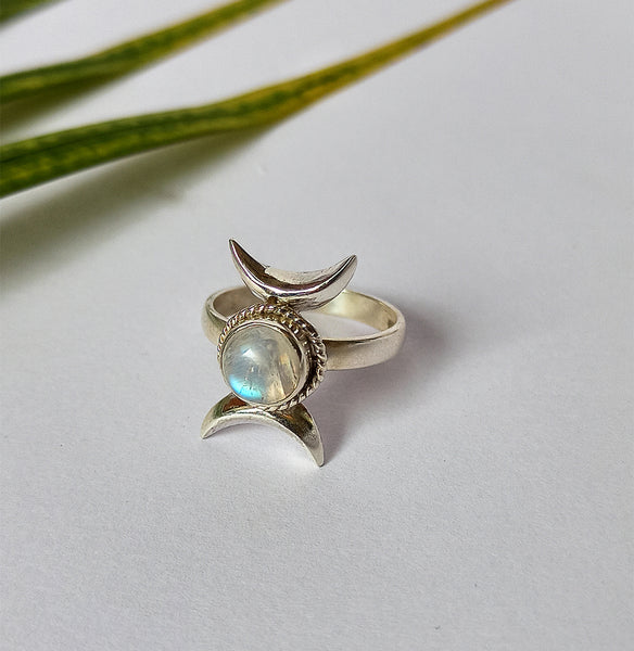 Rainbow Moonstone 925 Solid Sterling Silver Handmade Double Crescent Ring