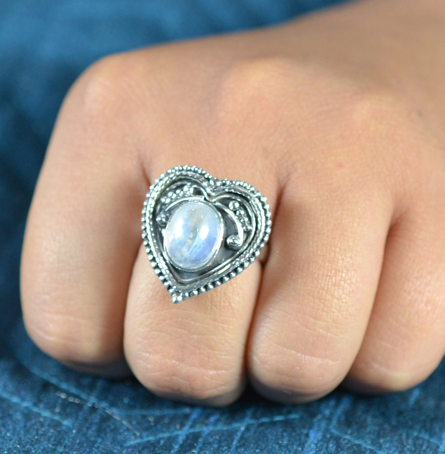 Rainbow Moonstone 925 Solid Sterling Silver Handmade Heart Shape Ring