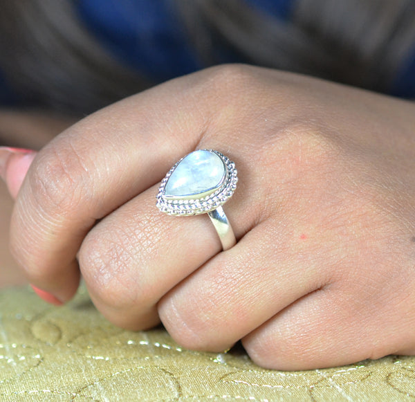 Rainbow Moonstone 925 Solid Sterling Silver Handmade Pear Ring
