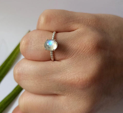 Rainbow Moonstone 925 Solid Sterling Silver Handmade Cornered Ring