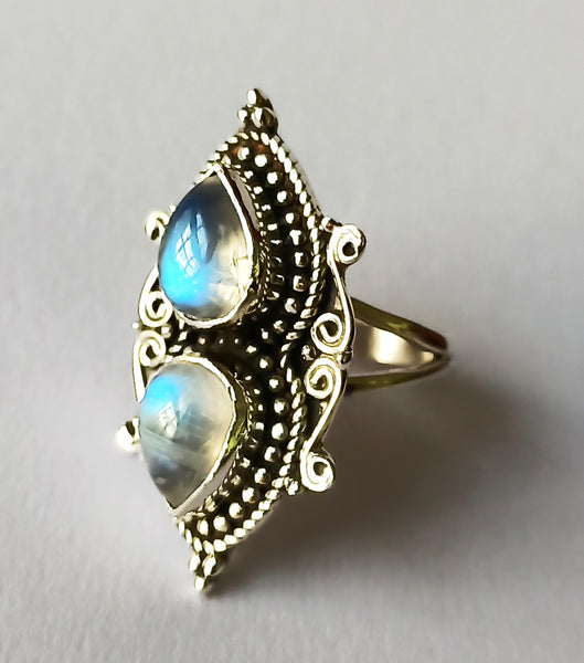 Rainbow Moonstone 925 Solid Sterling Silver Handmade Dual Ring