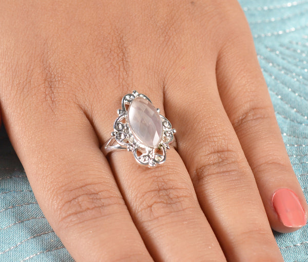 Rose Quartz 925 Solid Sterling Silver Handmade Marquise Ring
