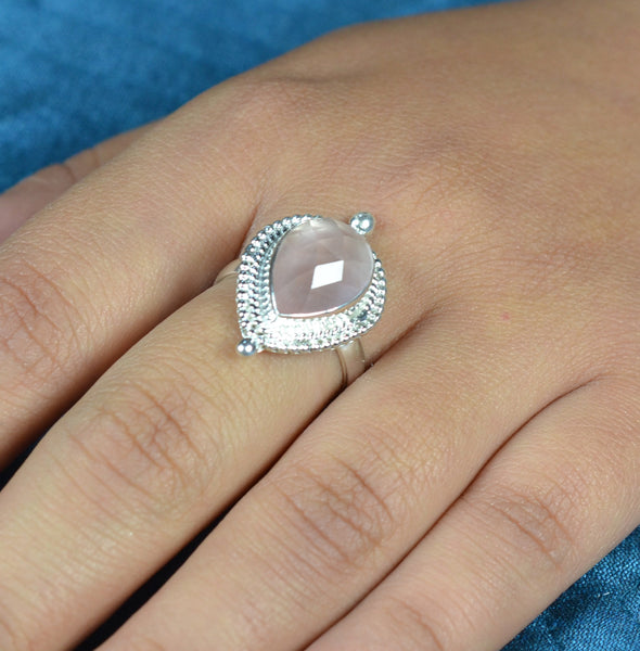 Rose Quartz 925 Solid Sterling Silver Handmade Pear shape Ring