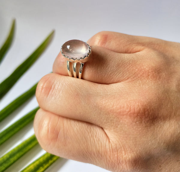 Rose Quartz 925 Solid Sterling Silver Handmade Oval Ring