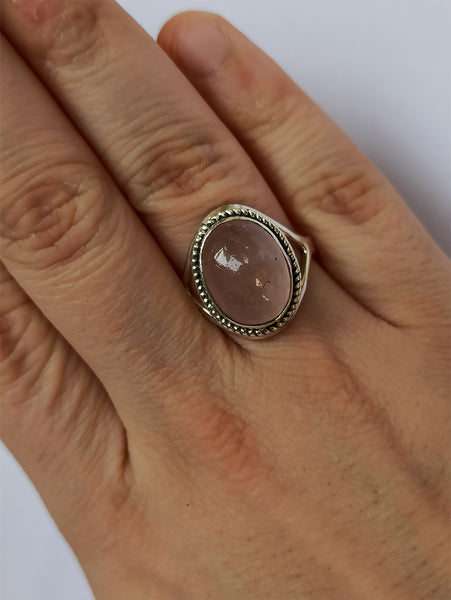Rose Quartz 925 Solid Sterling Silver Handmade Classic Ring