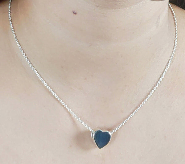 925 Solid Sterling Silver Handmade Heart Shape Necklace Chain