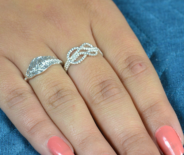 925 Solid Sterling Silver Handmade Loop Ring for Women