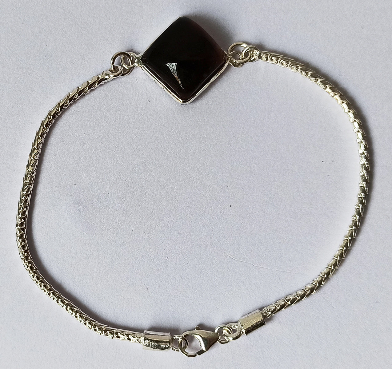 Smoky Quartz 925 Solid Sterling Silver Handmade Cushion Bracelet
