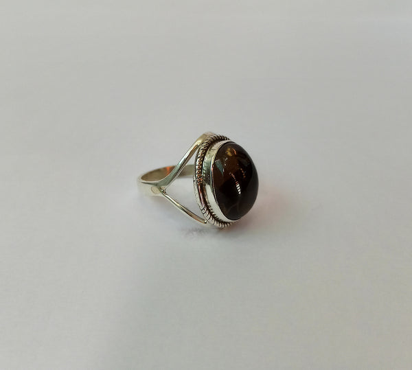 Smoky Quartz 925 Solid Sterling Silver Handmade Oval Ring