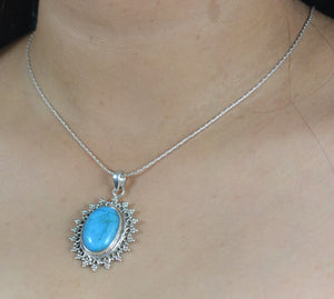 Turquoise 925 Solid Sterling Silver Handmade Pendant with Chain